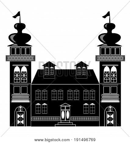 Silhouette of a castle with two towers in baroque or renaissance style in white and black design