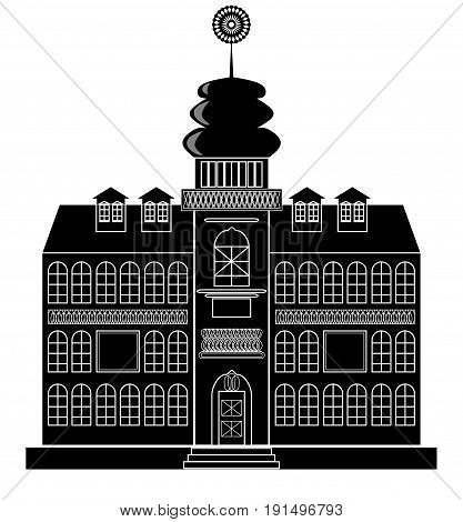 Silhouette of a castle with tower in baroque or renaissance style in white and black design