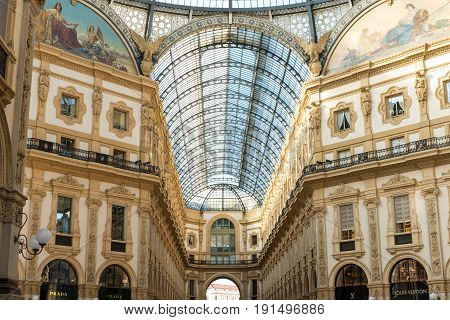 Milan Italy - 21 May 2017 : Glass roof of Galleria Vittorio Emanuele II one of the world's oldest shopping malls. Located in Milan Italy.