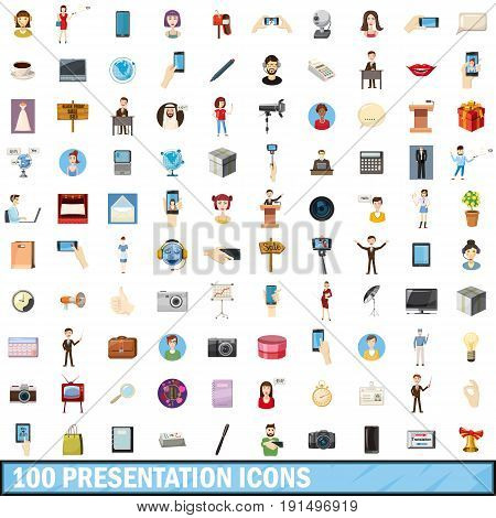 100 presentation icons set in cartoon style for any design vector illustration