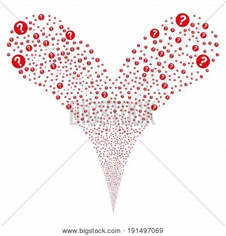 Query explosive stream. Vector illustration style is flat red iconic query symbols on a white background. Object fountain combined from random design elements.