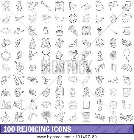 100 rejoicing icons set in outline style for any design vector illustration