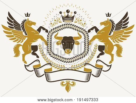Heraldic sign created with vector elements like mythic Pegasus wild bison and monarch crown heraldry emblem.