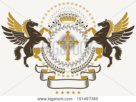 Luxury heraldic vector emblem template. Vector blazon composed using graceful Pegasus religious cross and laurel wreath.
