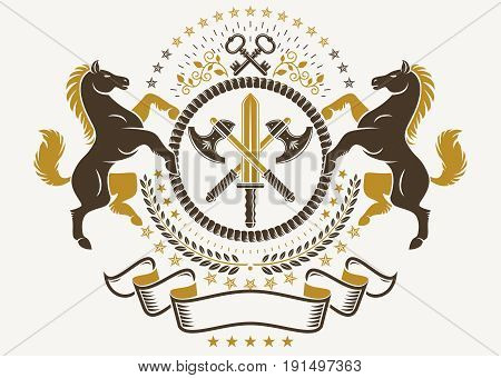 Luxury heraldic vector emblem template. Vector blazon composed with graceful horse illustration security keys and hatchets crossed
