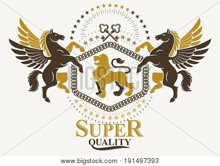 Luxury heraldic vector emblem template. Vector blazon created using graceful Pegasus wild lion and security keys.