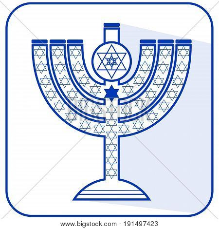 Jewish seven-branched candelabrum menorah with the Star of David flat design vector illustration in israel national colors blue and white with long shadow EPS 10 vector