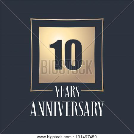 10 years anniversary celebration vector icon logo. Template design element with golden number for 10th anniversary greeting card