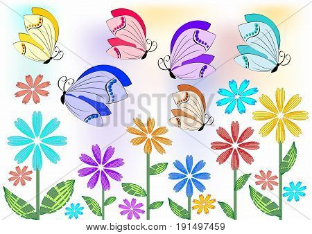 Cheerful colored butterflies flying over flowers on meadow or in garden. Design element for garden acivities spring advertisement. Merry topic for a good mood