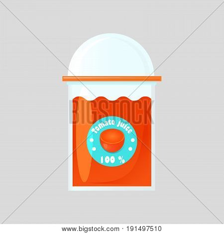 A glass of fresh tomato juice in a glass bowl with a product logo. Transparent glass closed with a round lid. Design of packaging for juice. Isolated on gradient background.
