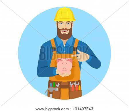 Worker pointing at piggy bank. Portrait of worker character in a flat style. Vector illustration.