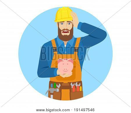 Worker with piggy bank grabbed his head. Portrait of worker character in a flat style. Vector illustration.
