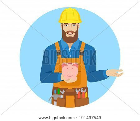 Worker with piggy bank gesturing. Portrait of worker character in a flat style. Vector illustration.