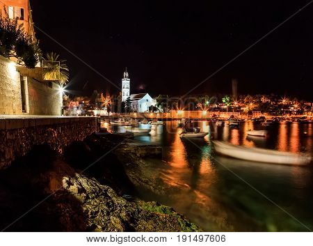 Landscape photo of mediterranean town at night