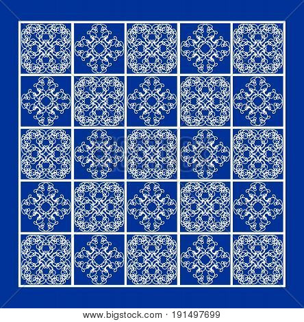Blue tile with fine white geometric line ornaments in square contrasting ethnic patterns eps10 vector