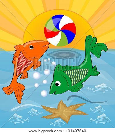 Two cute fishes playing with ball in the sea. Orange fish throws the ball green fish the sun shining over the sea. Cheerful summer cartoon