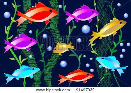 Aquarium with bright colored fishes aquatic plants and air bubbles. Decorative picture for the aquarium shop or for fish restaurant