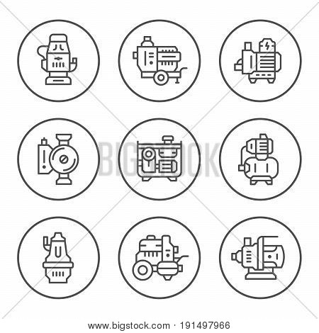 Set round line icons of water pump isolated on white. Vector illustration