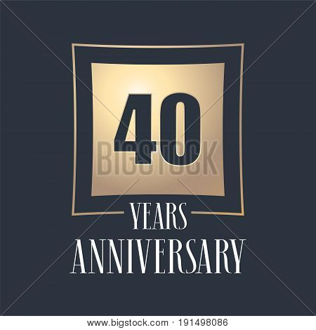 40 years anniversary celebration vector icon logo. Template design element with golden number for 40th anniversary greeting card