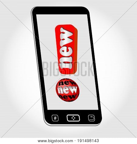 Smartphone - isolated object with emblem New represented as red exclamation mark with inscription New. Image on light gray background with gradient. Vector EPS 10.