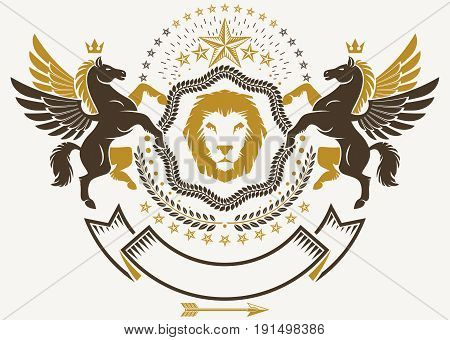 Luxury heraldic vector emblem template. Vector blazon decorated with graceful Pegasus wild lion and pentagonal stars.