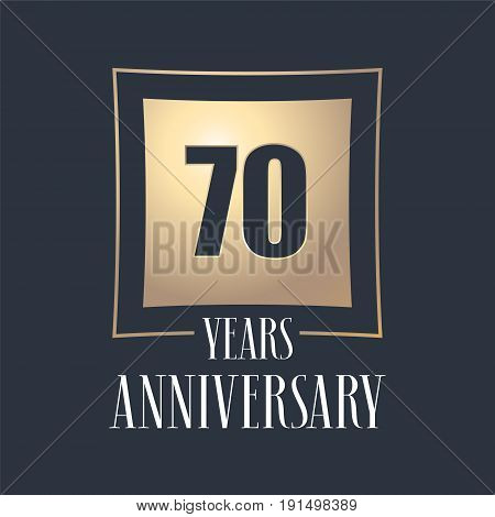 70 years anniversary celebration vector icon logo. Template design element with golden number for 70th anniversary greeting card