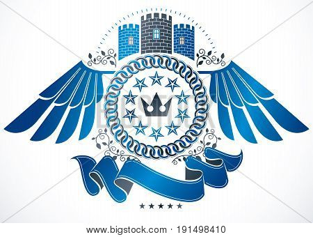 Winged classy emblem vector heraldic Coat of Arms composed with medieval castle imperial crown and pentagonal stars.