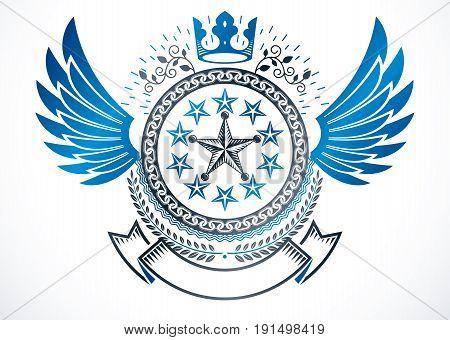 Winged classy emblem vector heraldic Coat of Arms created using monarch crown pentagonal stars and laurel wreath