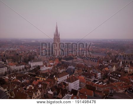 A picture of the iconic city Brugge, Belgium during winter time.