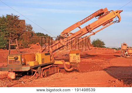 Mobile drilling rig on a construction site