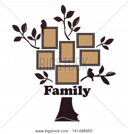 Vector illustration of a family tree of brown color with leaves and birds on branches with an inscription family and photo frames with a beige background on a white background.