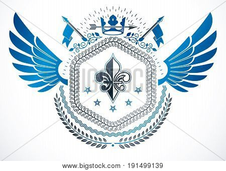 Retro vintage winged Insignia made with vector design elements and created using lily flower monarch crown and stars