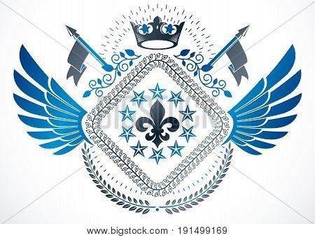 Vintage vector design element. Retro style winged label composed using lily flower monarch crown and stars