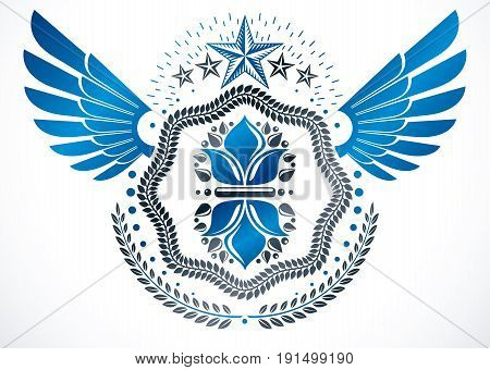 Vintage vector winged design element. Retro style label decorated using lily flower pentagonal stars and laurel wreath