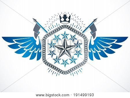 Vintage vector winged design element. Retro style label created using imperial crown and pentagonal stars