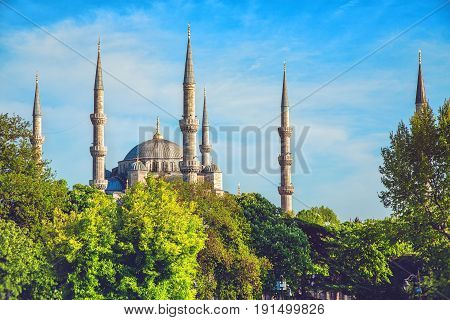 Sultanahmet Camii most famous as Blue Mosque in Istanbul Turkey