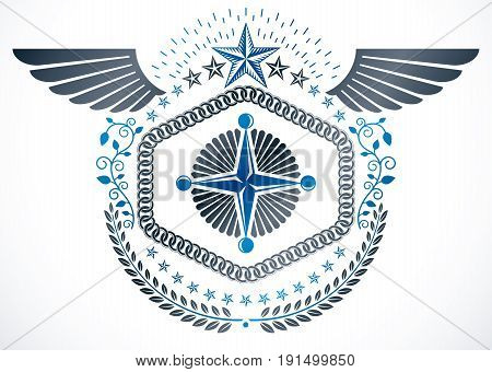 Vintage vector winged design element. Retro style label made with pentagonal stars and laurel wreath.