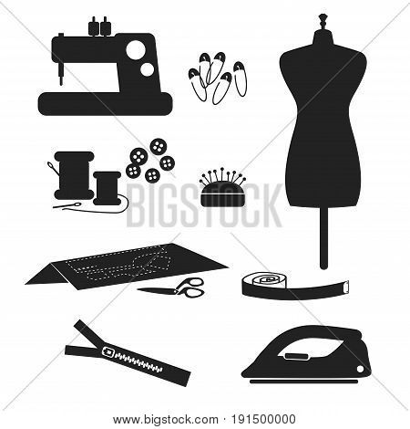 Tools and materials sewing icon set isolated on white background. vector illustration.