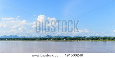 panorama mekong river and blue sky thailand