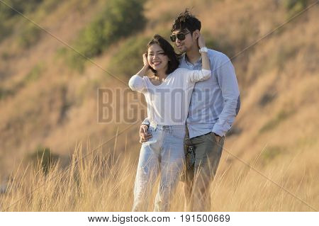 asian younger man and woman relaxing happiness emotion traveling destination