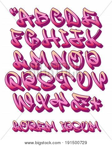 Vectorial font in graffiti hand written 3D style. Capital letters alphabet. Isolated on white background.