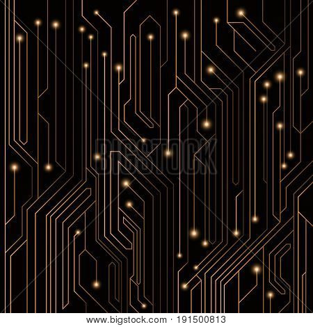 High-tech background of orange color from a computer board with LEDs and luminous neon connectors. Computer circuit. A large electronic network. Vector illustration. EPS 10