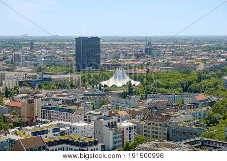 Berlin skyline over Kreuzberg district - city aerial shot of Berlin