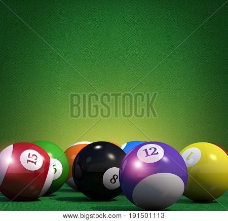 Billiard Game Copy Space Background. Pool Billiard Cue Sport Backdrop 3D Rendered Illustration.