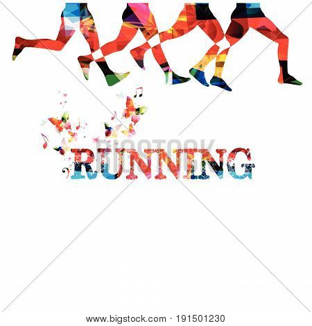 Running background with people silhouettes isolated. Sports, fitness, running, jogging, active people, training, recreational activity, people exercise vector illustration design