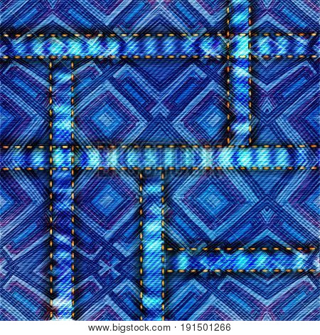 Vector denim texture and jeans pattern and backgraund.