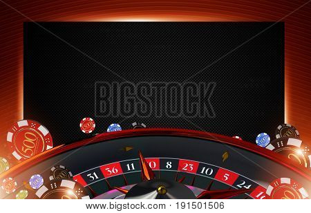 Casino Roulette Copy Space Background 3D Rendered Illustration. Roulette Wheel and Casino Chips in Reddish Black Colors.