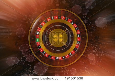 Classic Roulette Wheel Game with Blowing Casino Chips. Concept 3D Rendered Illustration.