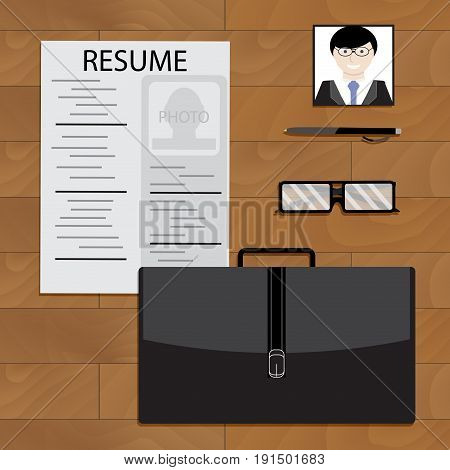 Preparing for interview concept. Job interview vector recruitment illustration of hiring cv resume