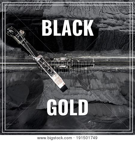 Word Black Gold. Aerial view of carbon storage place.